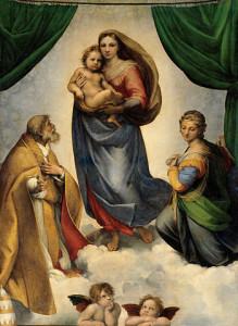 350px-RAFAEL_-_Madonna_Sixtina_(Gemäldegalerie_Alter_Meister,_Dresde,_1513-14._Óleo_sobre_lienzo,_265_x_196_cm)